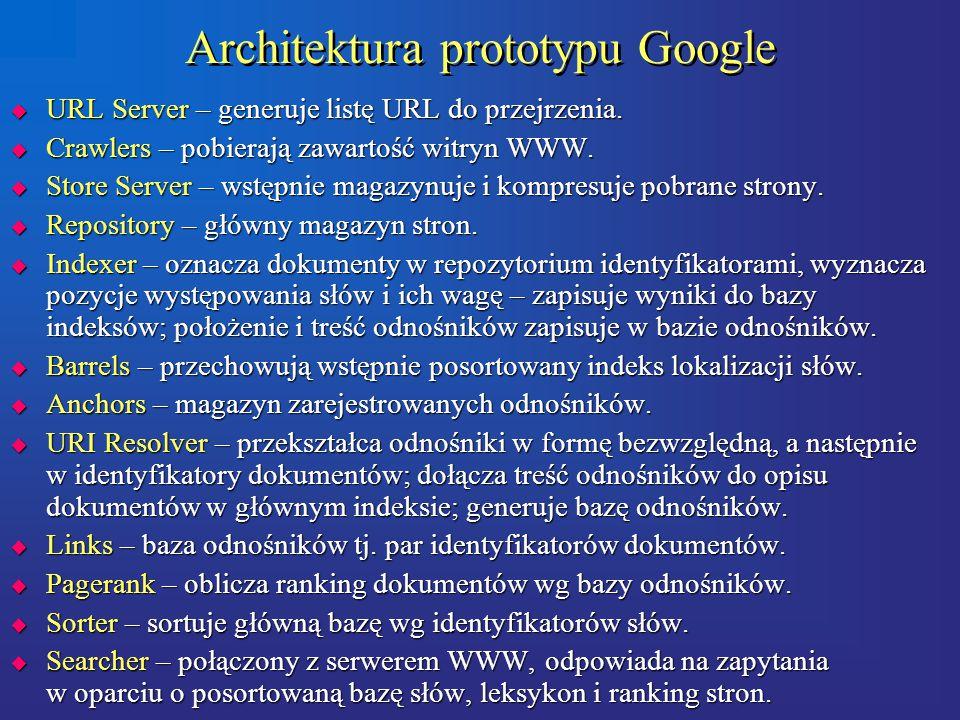 Architektura prototypu Google  URL Server – generuje listę URL do przejrzenia.