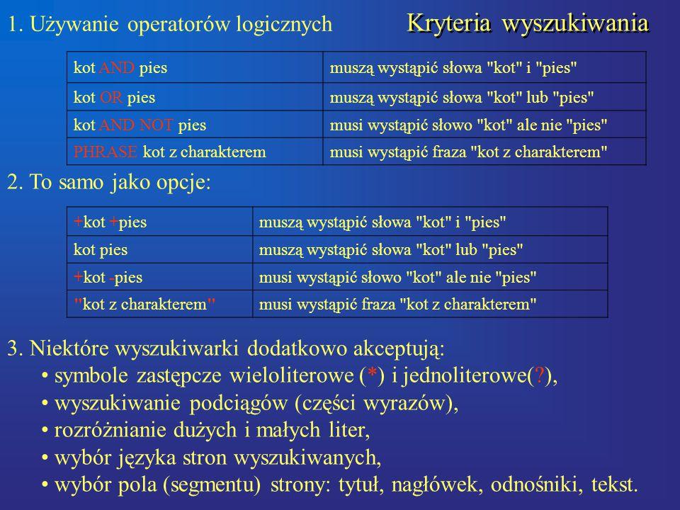 1. Używanie operatorów logicznych kot AND piesmuszą wystąpić słowa