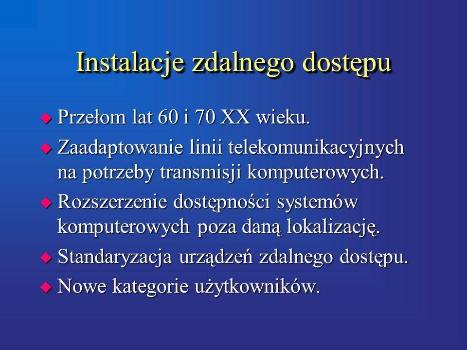 Instalacje zdalnego dostępu u Przełom lat 60 i 70 XX wieku.