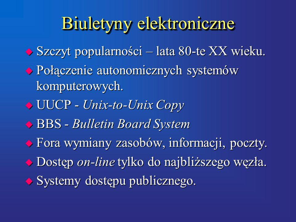 Biuletyny elektroniczne u Szczyt popularności – lata 80-te XX wieku.