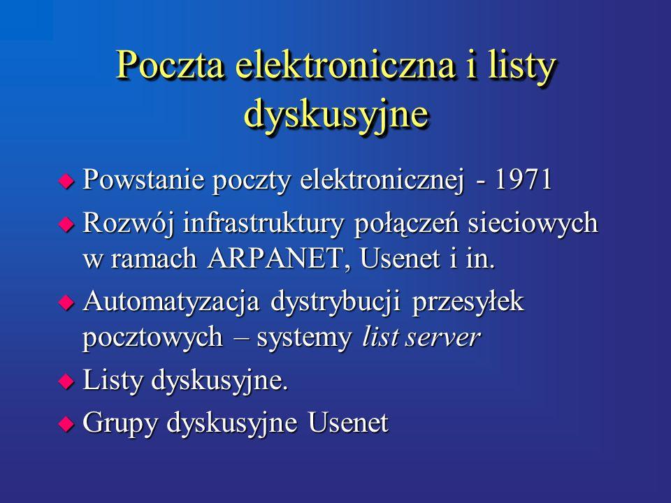 Poczta elektroniczna i listy dyskusyjne u Powstanie poczty elektronicznej - 1971 u Rozwój infrastruktury połączeń sieciowych w ramach ARPANET, Usenet i in.