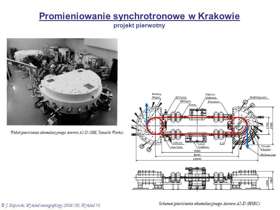 Promieniowanie synchrotronowe w Krakowie projekt pierwotny © J. Koperski, Wykład monograficzny 2008/09, Wykład 10