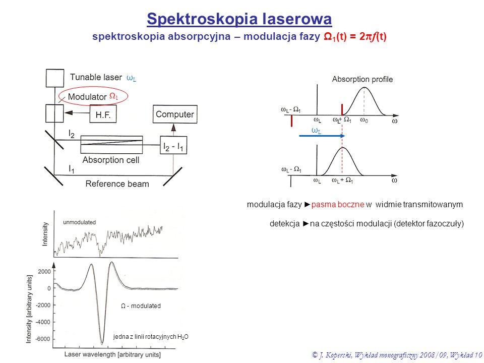 Spektroskopia laserowa spektroskopia absorpcyjna – modulacja fazy Ω 1 (t) = 2 πf (t) modulacja fazy ►pasma boczne w widmie transmitowanym Ω1Ω1 ωLωL Ω