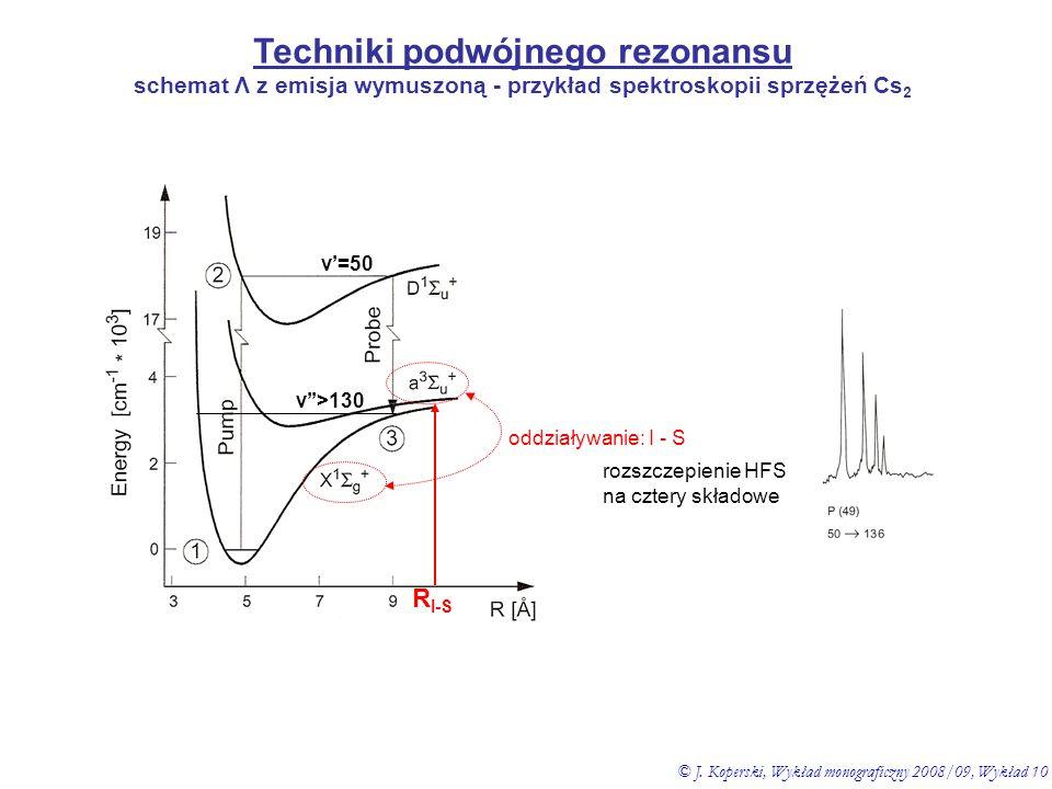 Techniki podwójnego rezonansu schemat Λ z emisja wymuszoną - przykład spektroskopii sprzężeń Cs 2 v'=50 v''>130 oddziaływanie: I - S rozszczepienie HF