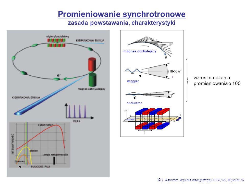 Promieniowanie synchrotronowe zasada powstawania, charakterystyki wzrost natężenia promieniowania o 100 magnes odchylający wiggler ondulator © J. Kope