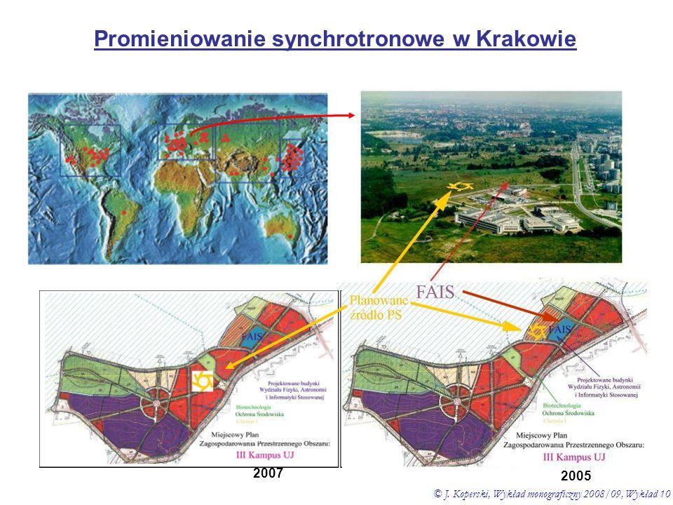 Promieniowanie synchrotronowe w Krakowie © J. Koperski, Wykład monograficzny 2008/09, Wykład 10 2005 2007