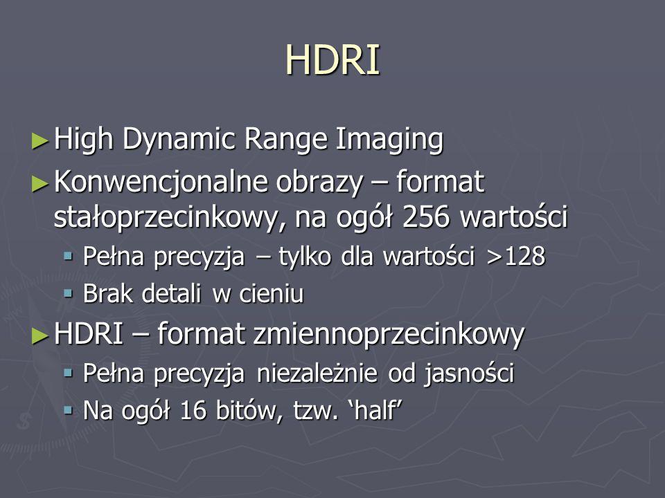 HDRI ► High Dynamic Range Imaging ► Konwencjonalne obrazy – format stałoprzecinkowy, na ogół 256 wartości  Pełna precyzja – tylko dla wartości >128 