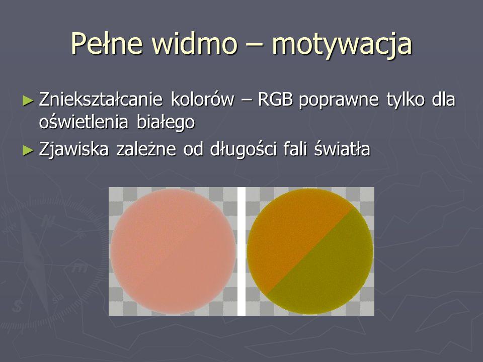 Pełne widmo – motywacja ► Zniekształcanie kolorów – RGB poprawne tylko dla oświetlenia białego ► Zjawiska zależne od długości fali światła