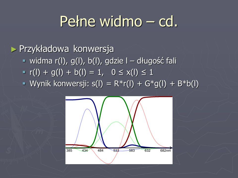 Pełne widmo – cd. ► Przykładowa konwersja  widma r(l), g(l), b(l), gdzie l – długość fali  r(l) + g(l) + b(l) = 1, 0 ≤ x(l) ≤ 1  Wynik konwersji: s