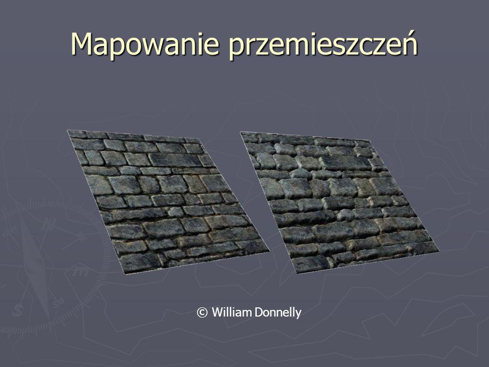 Mapowanie tekstur ► Podstawowy algorytm mapowania na płaskie wielokąty, historycznie – brak korekcji perspektywy ► Mapowanie ogólne – dwuwymiarowa powierzchnia musi być parametryzowalna ► Tekstury trójwymiarowe