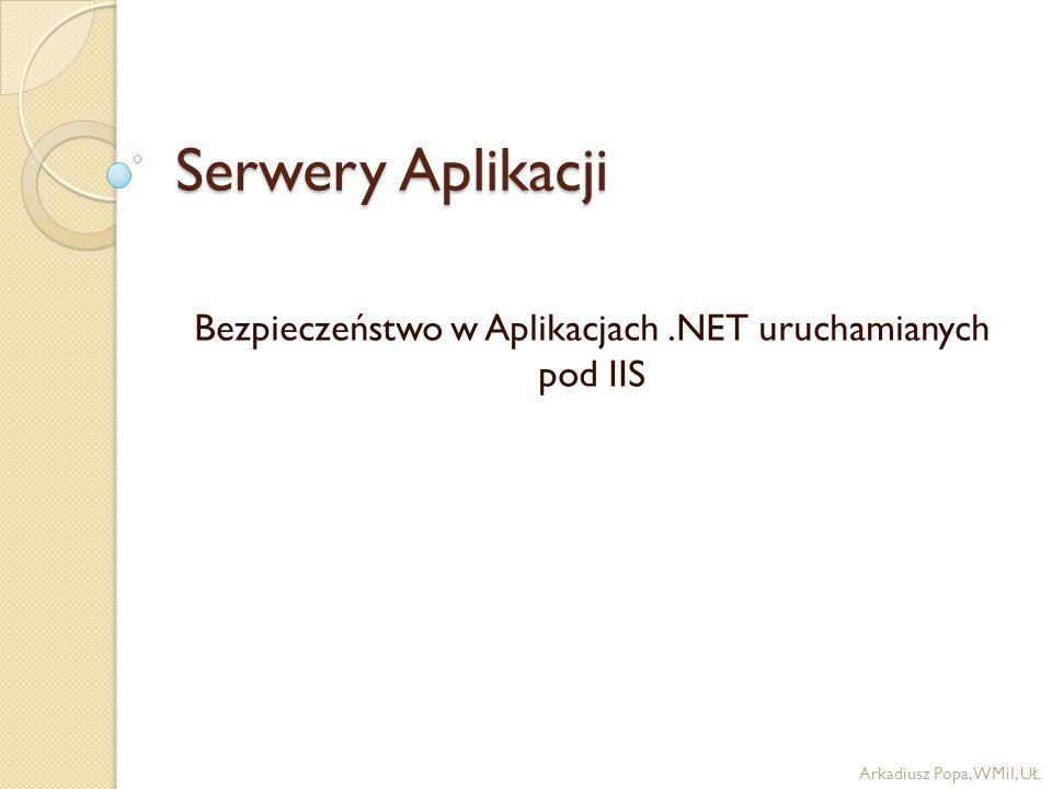 Serwery Aplikacji Bezpieczeństwo w Aplikacjach.NET uruchamianych pod IIS Arkadiusz Popa, WMiI, UŁ