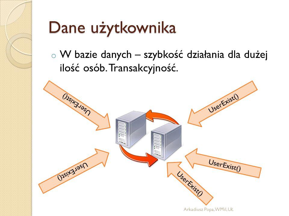 Dane użytkownika o W bazie danych – szybkość działania dla dużej ilość osób. Transakcyjność. Arkadiusz Popa, WMiI, UŁ UserExist()