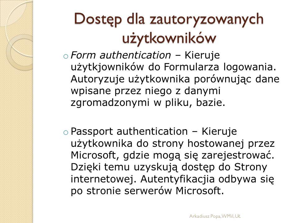 o Form authentication – Kieruje użytkjowników do Formularza logowania.