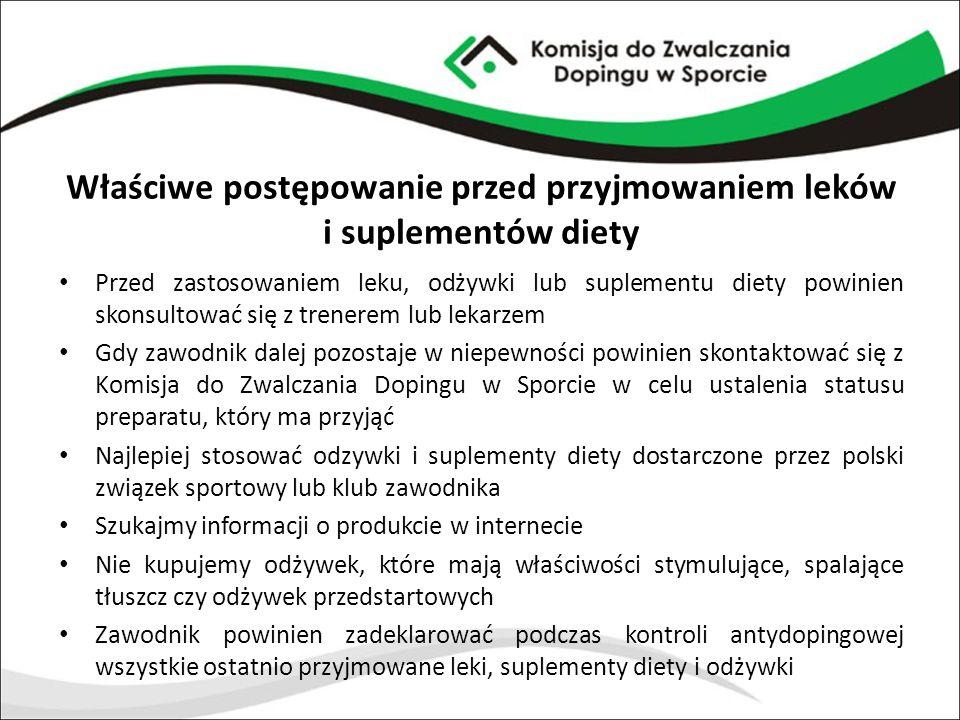 Właściwe postępowanie przed przyjmowaniem leków i suplementów diety Przed zastosowaniem leku, odżywki lub suplementu diety powinien skonsultować się z
