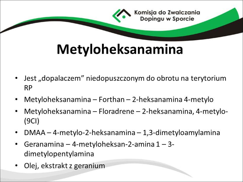 """Metyloheksanamina Jest """"dopalaczem"""" niedopuszczonym do obrotu na terytorium RP Metyloheksanamina – Forthan – 2-heksanamina 4-metylo Metyloheksanamina"""