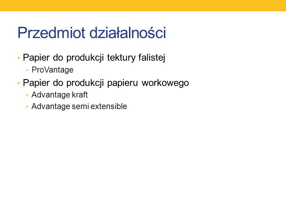 Przedmiot działalności Papier do produkcji tektury falistej ProVantage Papier do produkcji papieru workowego Advantage kraft Advantage semi extensible