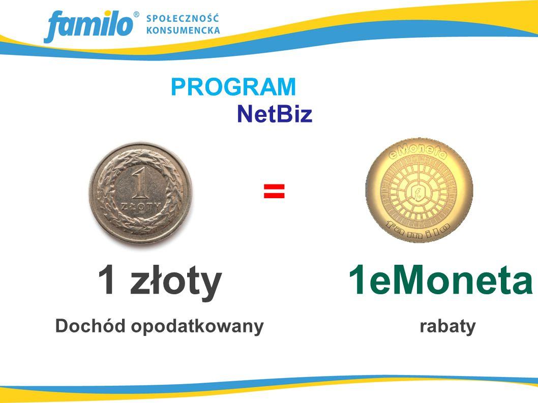 PROGRAM NetBiz = 1 złoty 1eMoneta Dochód opodatkowany rabaty