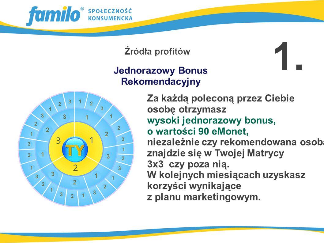 1 KRĄG po 30 eMonet - bez rekomendacji 2 KRĄG po 20 eMonet: 10 eMonet - bez rekomendacji 20 eMonet - pierwsza rekomendacja 3 KRĄG po 40 eMonet 20 eMonet - dwie rekomendacje 40 eMonet – trzy rekomendacje Źródła profitów Twój szablon - Matryca 3x3 2.