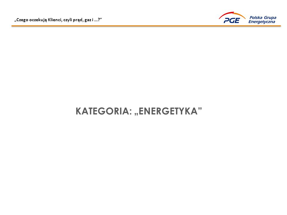 """""""Czego oczekują Klienci, czyli prąd, gaz i...?"""" KATEGORIA: """"ENERGETYKA"""""""