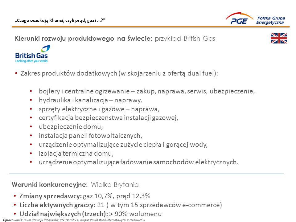 """""""Czego oczekują Klienci, czyli prąd, gaz i...?"""" Kierunki rozwoju produktowego na świecie: przykład British Gas Zakres produktów dodatkowych (w skojarz"""