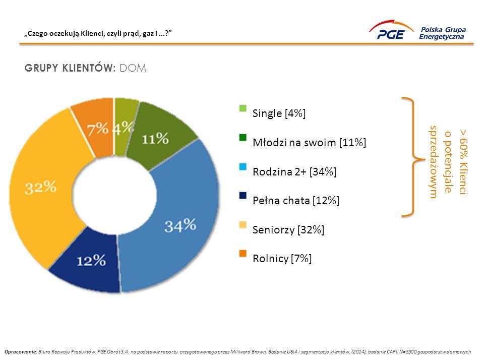 """""""Czego oczekują Klienci, czyli prąd, gaz i...?"""" GRUPY KLIENTÓW: DOM > 60% Klienci o potencjale sprzedażowym  Single [4%]  Młodzi na swoim [11%]  Ro"""