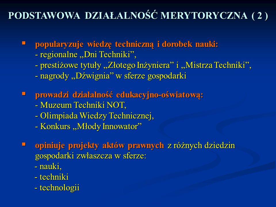 """ popularyzuje wiedzę techniczną i dorobek nauki: - regionalne """"Dni Techniki"""", - prestiżowe tytuły """"Złotego Inżyniera"""" i """"Mistrza Techniki"""", - nagrody"""