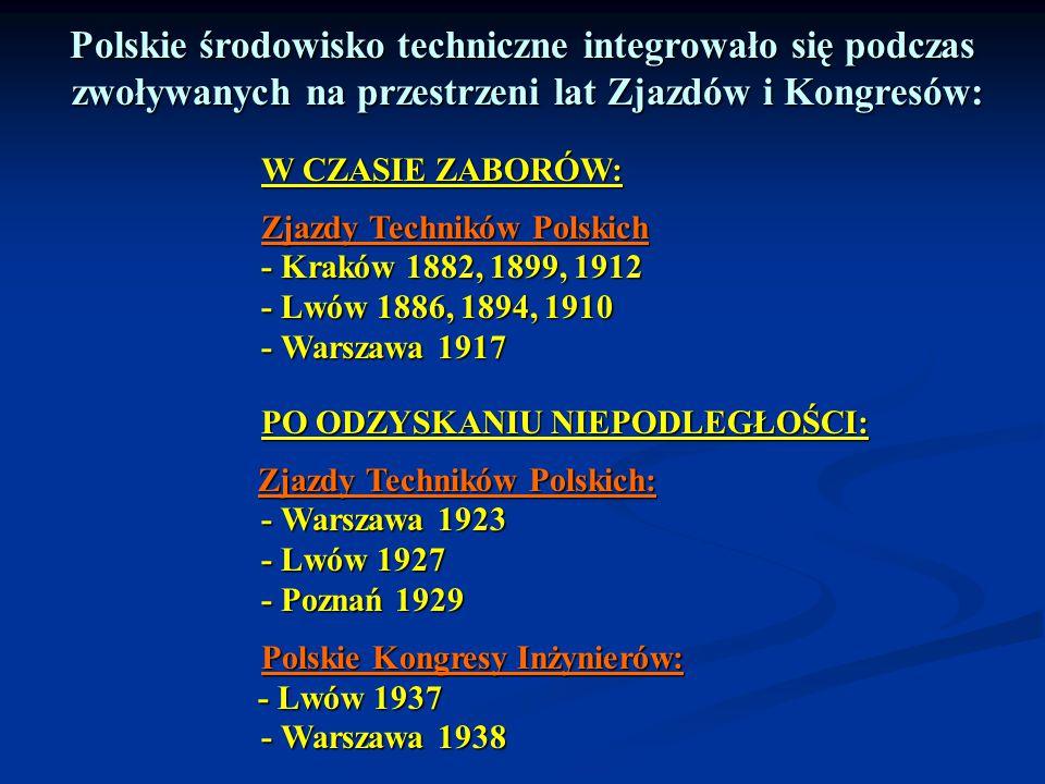 Polskie środowisko techniczne integrowało się podczas zwoływanych na przestrzeni lat Zjazdów i Kongresów: zwoływanych na przestrzeni lat Zjazdów i Kon
