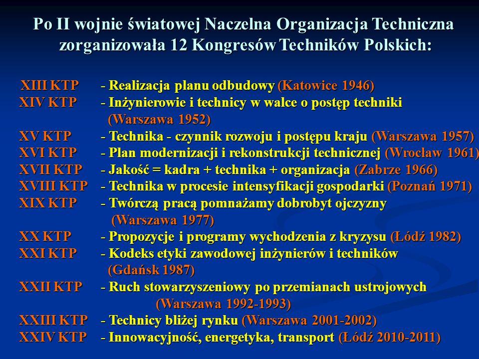 Po II wojnie światowej Naczelna Organizacja Techniczna zorganizowała 12 Kongresów Techników Polskich: zorganizowała 12 Kongresów Techników Polskich: X