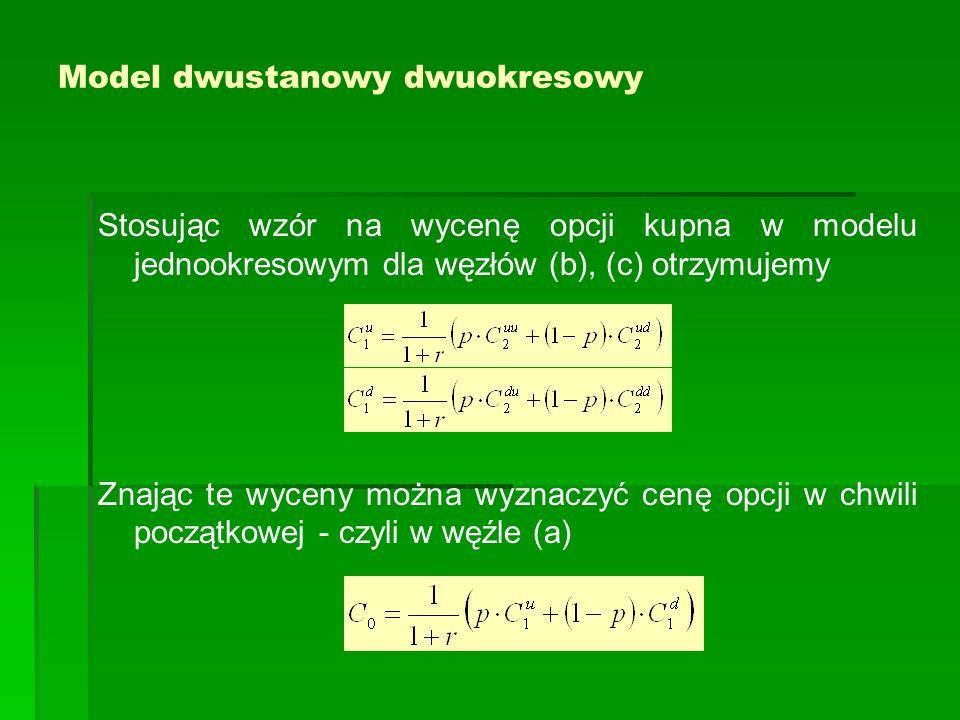 Model dwustanowy dwuokresowy Stosując wzór na wycenę opcji kupna w modelu jednookresowym dla węzłów (b), (c) otrzymujemy Znając te wyceny można wyznaczyć cenę opcji w chwili początkowej - czyli w węźle (a)