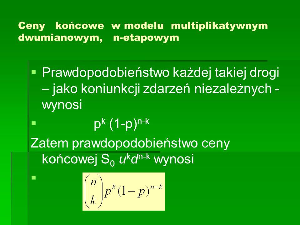 Ceny końcowe w modelu multiplikatywnym dwumianowym, n-etapowym   Prawdopodobieństwo każdej takiej drogi – jako koniunkcji zdarzeń niezależnych - wynosi   p k (1-p) n-k Zatem prawdopodobieństwo ceny końcowej S 0 u k d n-k wynosi  