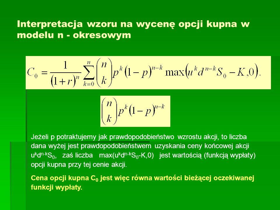 Interpretacja wzoru na wycenę opcji kupna w modelu n - okresowym Jeżeli p potraktujemy jak prawdopodobieństwo wzrostu akcji, to liczba dana wyżej jest prawdopodobieństwem uzyskania ceny końcowej akcji u k d n-k S 0, zaś liczba max(u k d n-k S 0 -K,0) jest wartością (funkcją wypłaty) opcji kupna przy tej cenie akcji.