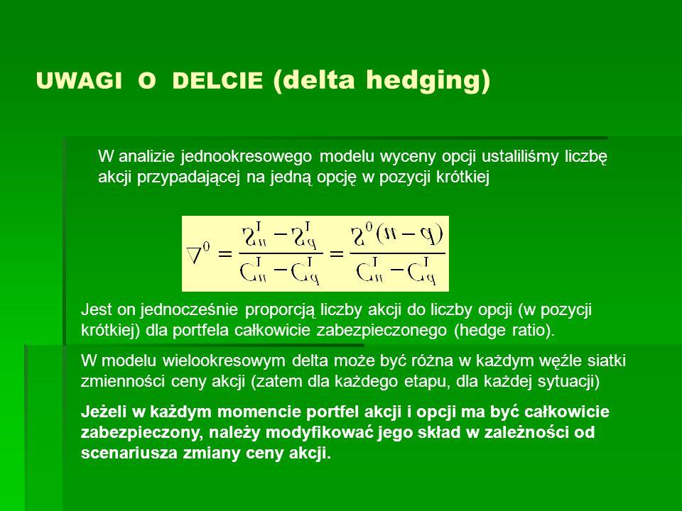 UWAGI O DELCIE (delta hedging) Jest on jednocześnie proporcją liczby akcji do liczby opcji (w pozycji krótkiej) dla portfela całkowicie zabezpieczonego (hedge ratio).