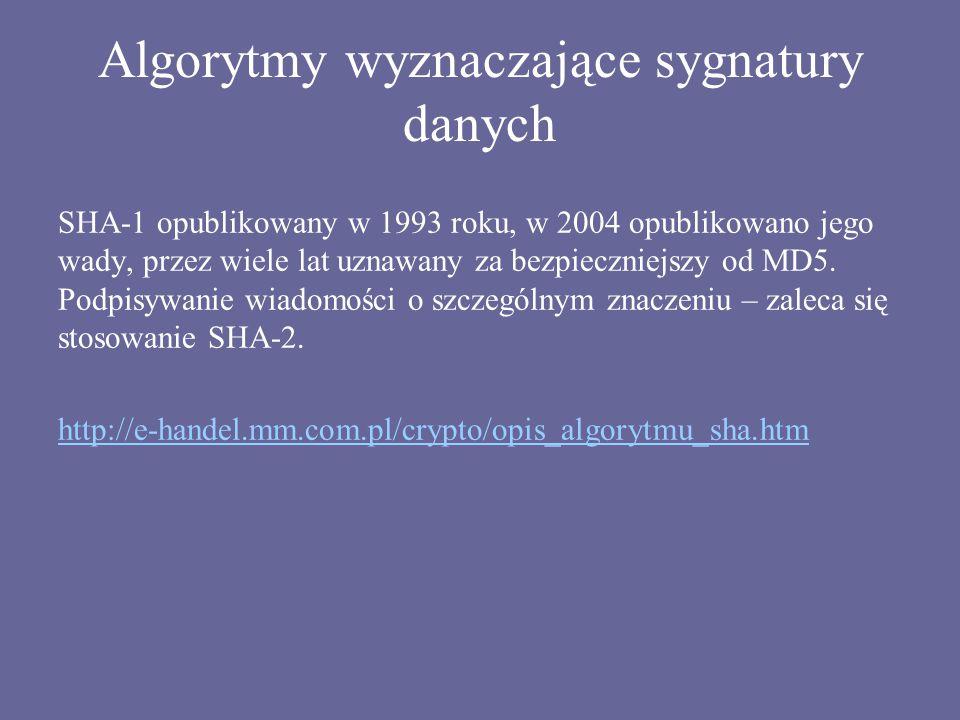 Algorytmy wyznaczające sygnatury danych SHA-1 opublikowany w 1993 roku, w 2004 opublikowano jego wady, przez wiele lat uznawany za bezpieczniejszy od