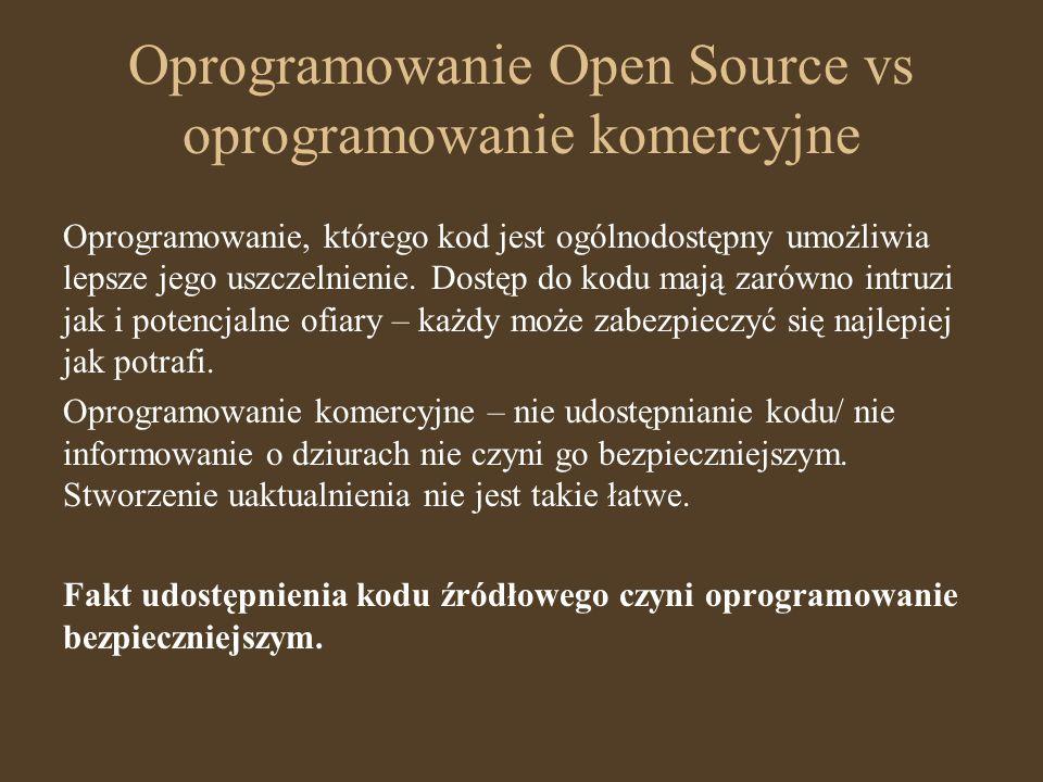Oprogramowanie Open Source vs oprogramowanie komercyjne Oprogramowanie, którego kod jest ogólnodostępny umożliwia lepsze jego uszczelnienie. Dostęp do