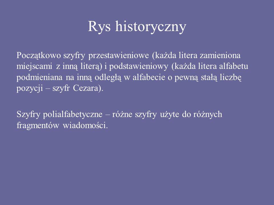 Rys historyczny Początkowo szyfry przestawieniowe (każda litera zamieniona miejscami z inną literą) i podstawieniowy (każda litera alfabetu podmienian