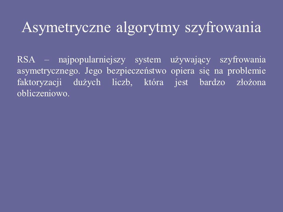 Asymetryczne algorytmy szyfrowania RSA – najpopularniejszy system używający szyfrowania asymetrycznego. Jego bezpieczeństwo opiera się na problemie fa
