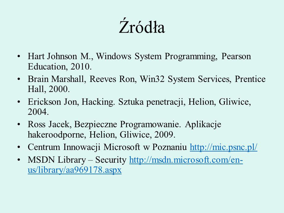 Źródła Hart Johnson M., Windows System Programming, Pearson Education, 2010. Brain Marshall, Reeves Ron, Win32 System Services, Prentice Hall, 2000. E