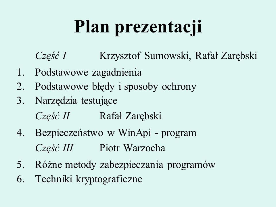 Plan prezentacji Część IKrzysztof Sumowski, Rafał Zarębski 1.Podstawowe zagadnienia 2.Podstawowe błędy i sposoby ochrony 3.Narzędzia testujące Część I