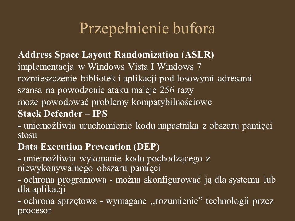 Przepełnienie bufora Address Space Layout Randomization (ASLR) implementacja w Windows Vista I Windows 7 rozmieszczenie bibliotek i aplikacji pod loso