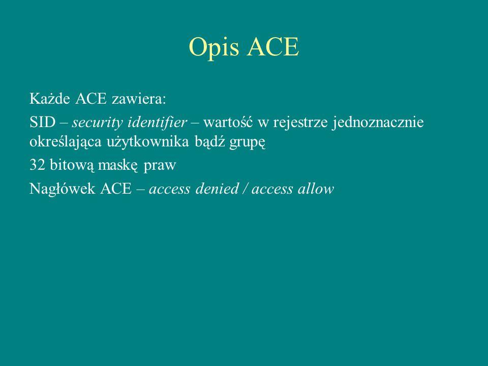 Opis ACE Każde ACE zawiera: SID – security identifier – wartość w rejestrze jednoznacznie określająca użytkownika bądź grupę 32 bitową maskę praw Nagł
