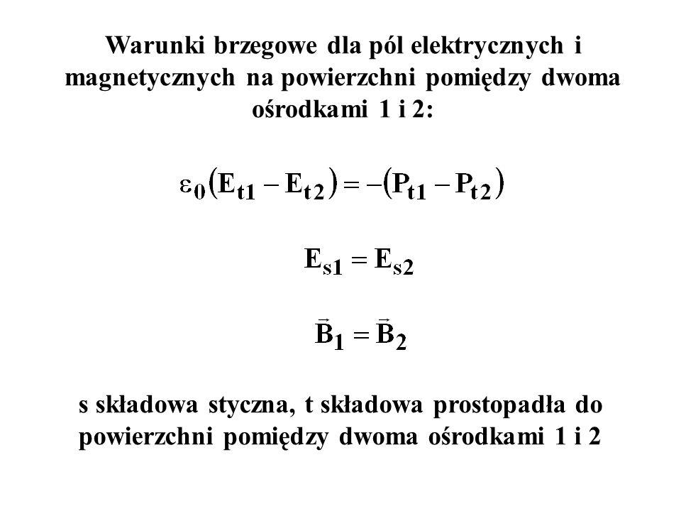 Warunki brzegowe dla pól elektrycznych i magnetycznych na powierzchni pomiędzy dwoma ośrodkami 1 i 2: s składowa styczna, t składowa prostopadła do po