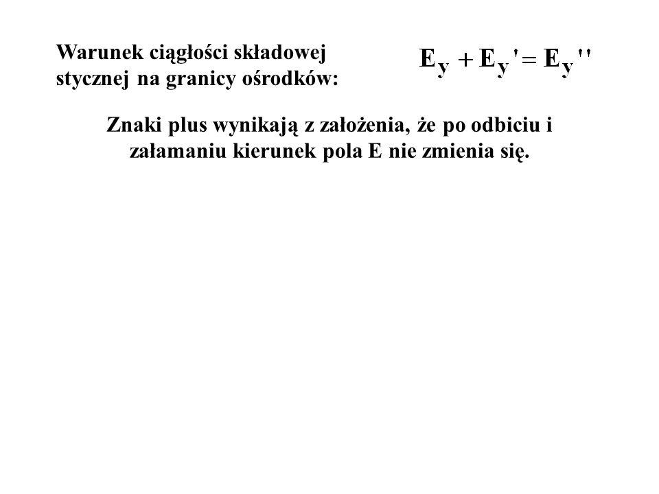 Znaki plus wynikają z założenia, że po odbiciu i załamaniu kierunek pola E nie zmienia się.