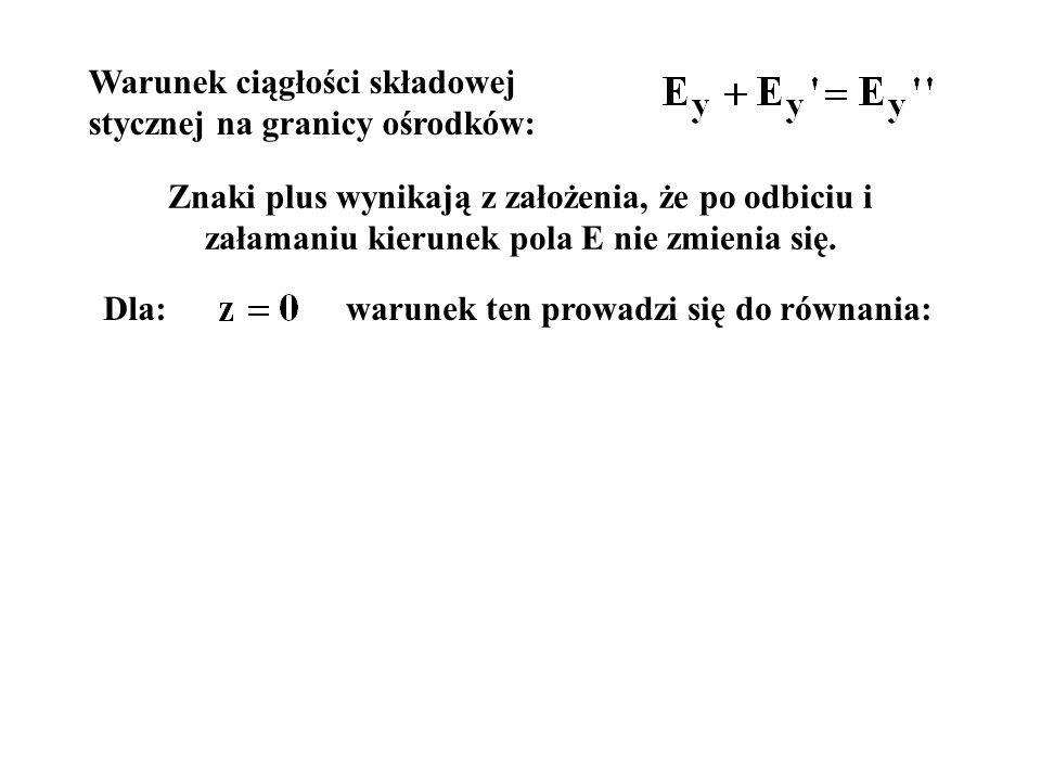 Warunek ciągłości składowej stycznej na granicy ośrodków: Znaki plus wynikają z założenia, że po odbiciu i załamaniu kierunek pola E nie zmienia się.