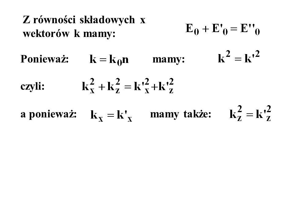 Z równości składowych x wektorów k mamy: Ponieważ: mamy także: mamy: czyli: a ponieważ: