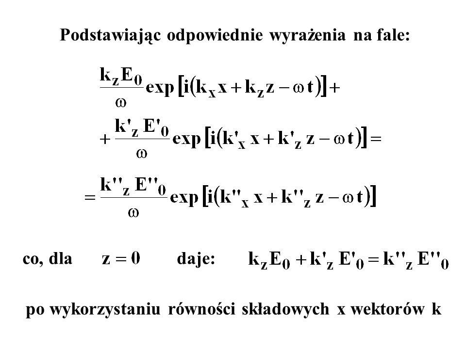 co, dla daje: po wykorzystaniu równości składowych x wektorów k