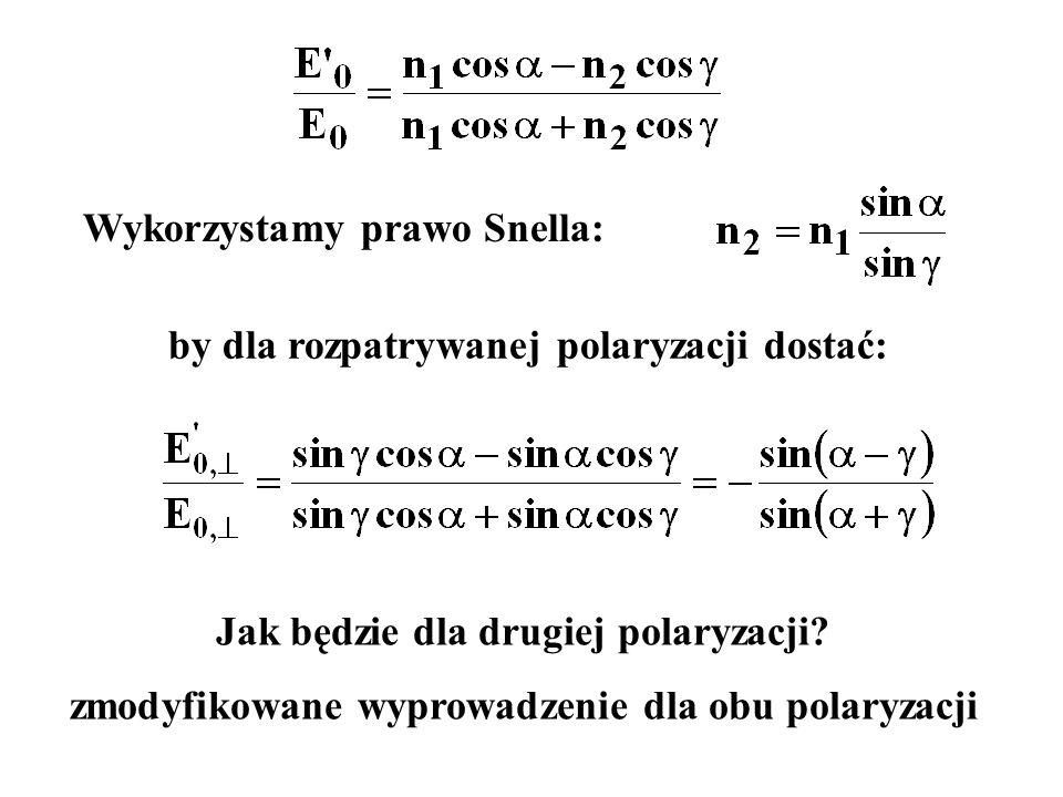 Wykorzystamy prawo Snella: Jak będzie dla drugiej polaryzacji? zmodyfikowane wyprowadzenie dla obu polaryzacji by dla rozpatrywanej polaryzacji dostać