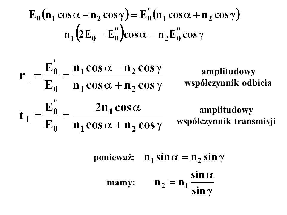 ponieważ: mamy: amplitudowy współczynnik odbicia amplitudowy współczynnik transmisji