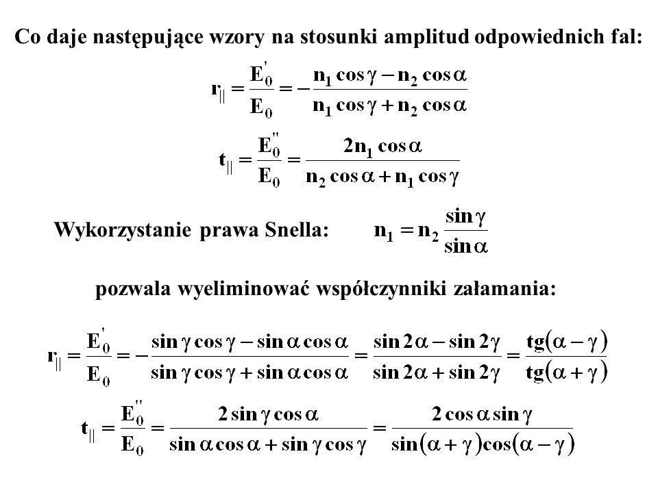 Co daje następujące wzory na stosunki amplitud odpowiednich fal: Wykorzystanie prawa Snella: pozwala wyeliminować współczynniki załamania:
