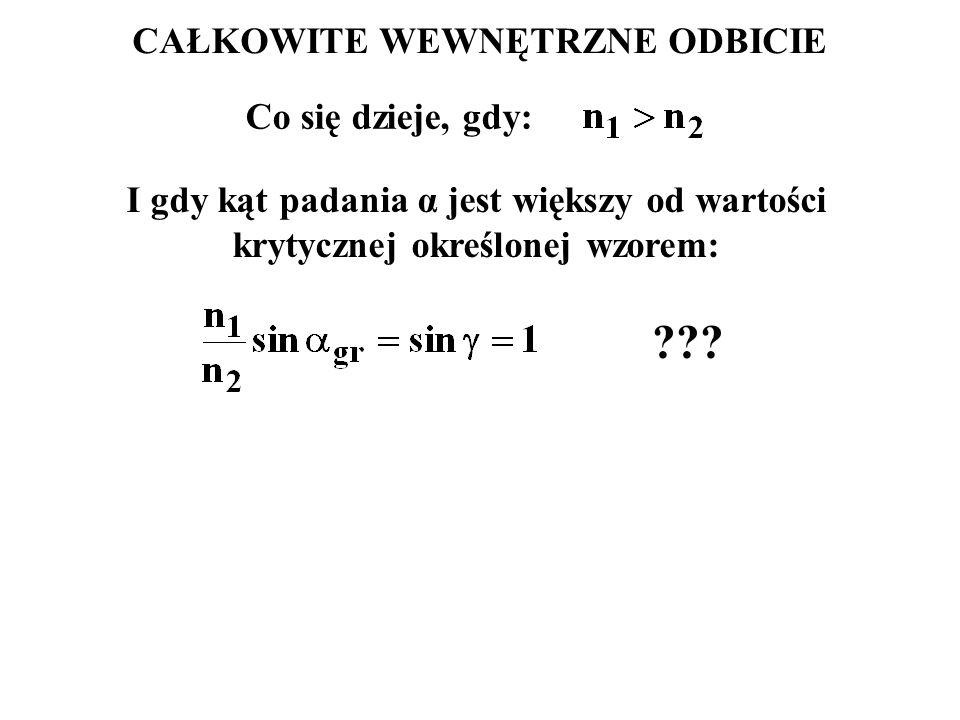 CAŁKOWITE WEWNĘTRZNE ODBICIE Co się dzieje, gdy: ??? I gdy kąt padania α jest większy od wartości krytycznej określonej wzorem: