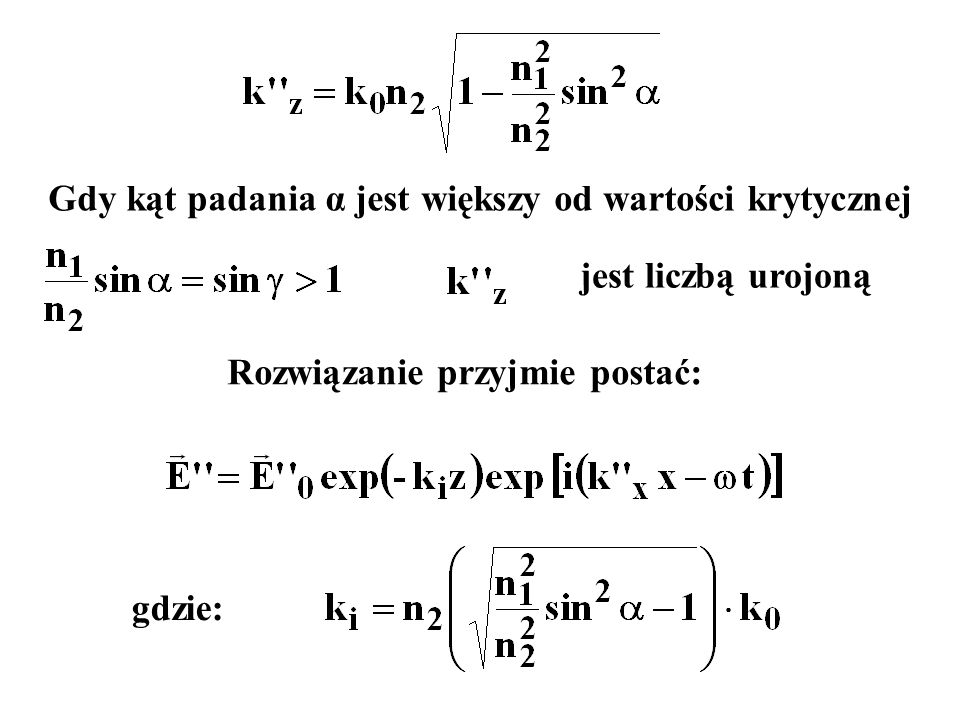 Gdy kąt padania α jest większy od wartości krytycznej jest liczbą urojoną Rozwiązanie przyjmie postać: gdzie: